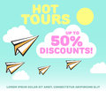 Paper planes in bright sky with clouds and sun background. Holiday, recreation, delivery service, travel tour, or discounts