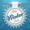 Paper price tag big winter sale blue background Stock Image