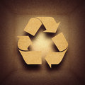 Paper recycling concept with symbol in cardboard box Royalty Free Stock Photos
