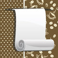 Paper roll on brown background with coffee beans