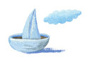 Paper sailboat acrylic illustration of Royalty Free Stock Photo