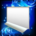 Paper sheet cut framed with a blue abstract luminous fantasy bac