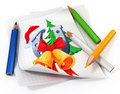Paper sheet with illustration and pencils Royalty Free Stock Images
