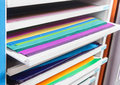 Paper sheet shelf - easy to find ,not messy Stock Photos
