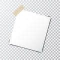 Paper sheet on sticky tape with transparent shadow isolated on a transparent background