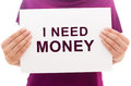 Paper sheet with text I need money Royalty Free Stock Photo