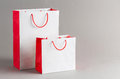 Paper shopping bag big and small isolated on gray background Royalty Free Stock Photo