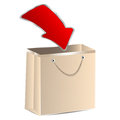 Paper shopping bag and a red arrow on white background Royalty Free Stock Photos