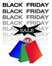 Paper shopping bags for black friday sale banner with three sign start christmas season Stock Images