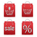 Paper shopping bags in red on white background set of sale icons icons for online shop Royalty Free Stock Photos