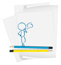A paper with a sketch of a man smoking illustration on white background Royalty Free Stock Photography