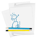 A paper with a sketch of a singer illustration on white background Royalty Free Stock Photo