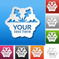 Paper snowflake on the red, blue, green, pink, black, grey, orange and white background. Winter sale label, sticker - Christmas of Royalty Free Stock Photo