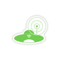 Paper sticker on white background wi fi router Royalty Free Stock Image