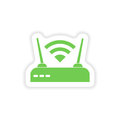 Paper sticker on white background wi fi router Stock Photos