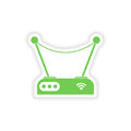 Paper sticker on white background wi fi router Royalty Free Stock Images