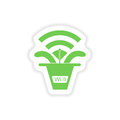 Paper sticker on white background wi fi router Stock Photography
