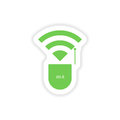 Paper sticker on white background wi fi router Stock Images