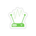 Paper sticker on white background wi fi router Stock Photo