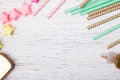 Paper straws and colorful stars Royalty Free Stock Photo