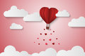 Paper Style love of valentine day , balloon flying over cloud with heart float on the sky, couple honeymoon , vector illustration Royalty Free Stock Photo