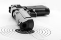 Paper target and pistol on white Royalty Free Stock Photo