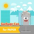 Paper trash can with monster face