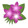 Paper tropical flowers. Purple flowers surrounded by green leave