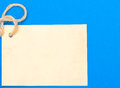 Paper vintage card copy space space text message blue background with old string and for on Royalty Free Stock Images