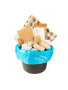 Paper waste in the black bucket
