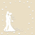 Paper wedding card with groom and bride Royalty Free Stock Images