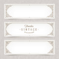 Paper white banners with flourishes frames calligraphic elegant ornamental Stock Photo