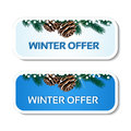 Paper winter offer, blue stickers on the white background - Christmas sale label with with pinecones and twig Royalty Free Stock Photo