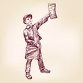 Paperboy selling news papers vector llustration hand drawn realistic sketch Stock Images