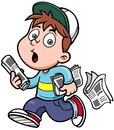 Paperboy vector illustration of cartoon Stock Photo