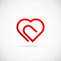 Paperclip heart concept vector symbol icon or logo template isolated Royalty Free Stock Photo