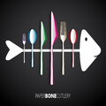 Papercut bone fish cutlery spoon knife fork Royalty Free Stock Photos