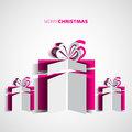 Papercut christmas gift box simple card for christmas Royalty Free Stock Photo