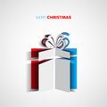 Papercut christmas gift box simple card for christmas Royalty Free Stock Image