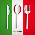 Papercut cutlery on italy flag vector restaurant card menu desi design Stock Images