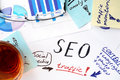 Papers with text and seo (search engine optimization).