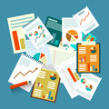 Paperwork. Top View Vector Flat Design Papers Royalty Free Stock Photo
