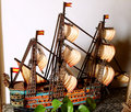 Papery model sailing ship Royalty Free Stock Photo