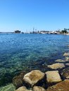 Paphos harbour view over to and castle cyprus Stock Photography