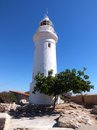 Paphos lighthouse is a golden point of the city as it can be seen from any corner of Royalty Free Stock Image