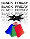 Papiereinkaufstaschen für black friday verkauf Stockbilder
