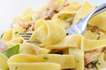Pappardelle with a rabbit and cream macro Royalty Free Stock Image