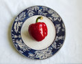 Paprika on a plate, white background Royalty Free Stock Photo