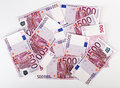 On paquet de 500 euro billets de banque Photo stock