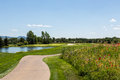 Par three tee box view of a beautiful golf hole in jackson wyoming Stock Image